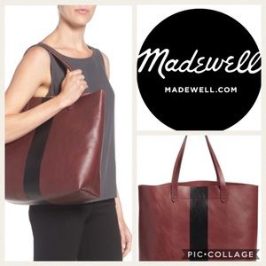 NWT Madewell Paint Stripe Transport Tote {Brg/Blk}
